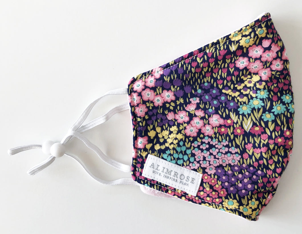 3 Layer Fabric Face Mask - Adult Navy Floral