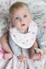 Load image into Gallery viewer, 2pk Bibs Pink Elephants and Stars by The Little Linen Company