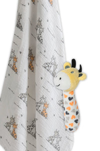 Muslin Wrap and Crinkle Toy gift set Giraffe