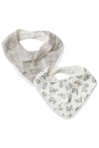 2pk Bibs Grey Bunnies and Spots by The Little Linen Company