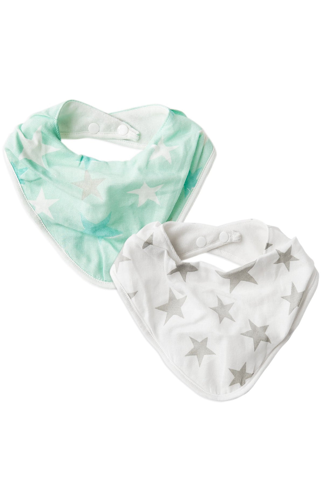 2pk Bibs Mint and Grey Stars by The Little Linen Company