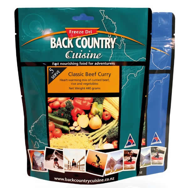 Back Country Cuisine Classic Beef Curry Freeze Dried Meal - Five Serve
