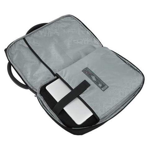 Eagle Creek Convertabrief 26.5 Litre Carry-On Laptop Messenger Bag Asphalt Black butterfly opening showing laptop sleeve
