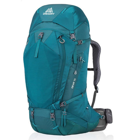 Gregory Deva 70 Litre Women's Hiking Backpack Antigua Green in use side view