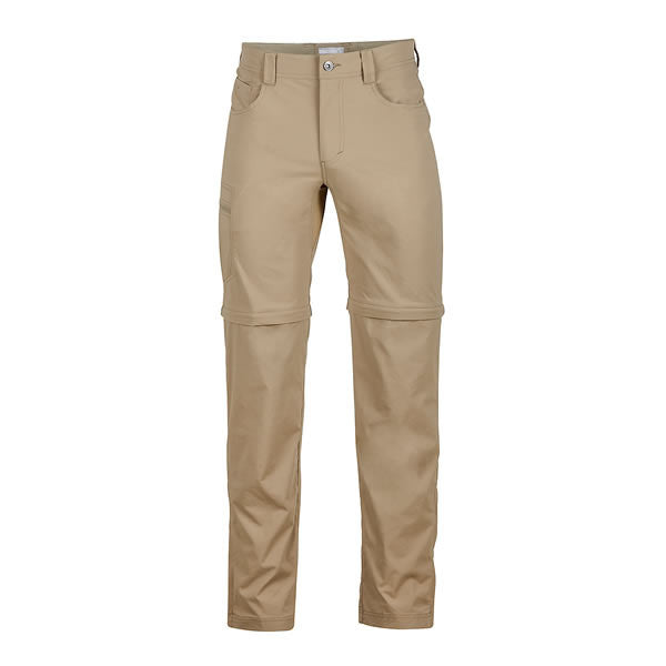Marmot Men's Transcend Convertible Travel and Hike Pants Front View Desert Khaki