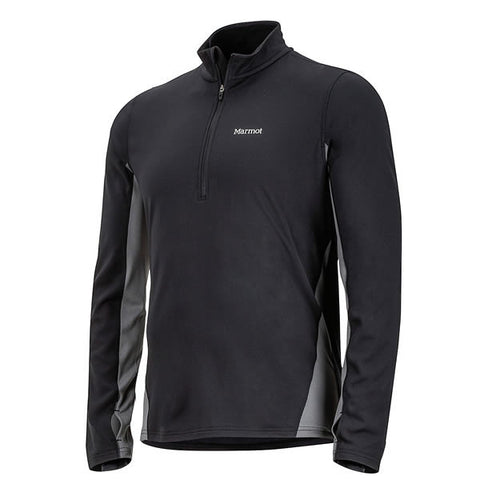 Marmot Mens Excel 1/2 Zip Midweight Active Top Black/Cinder side view
