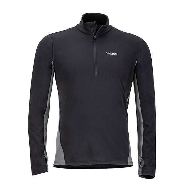 Marmot Mens Excel 1/2 Zip Midweight Active Top Black/Cinder front view