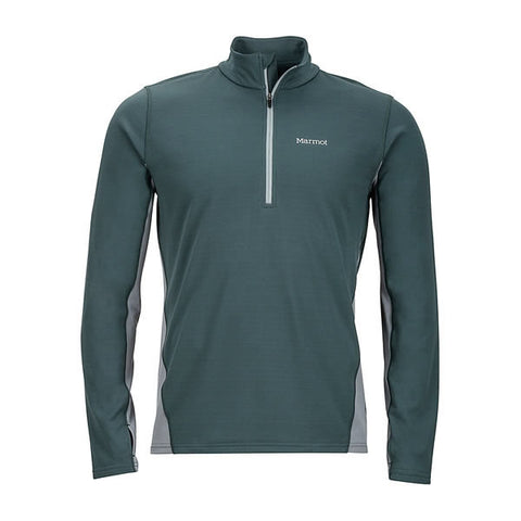 Marmot Mens Excel 1/2 Zip Midweight Active Top Dark Zinc/Grey Storm front view