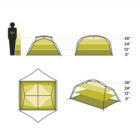 Nemo Aurora 3 Person Hiking Tent with Footprint Nova Green interior space