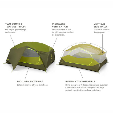 Nemo Aurora 3 Person Hiking Tent with Footprint Nova Green features