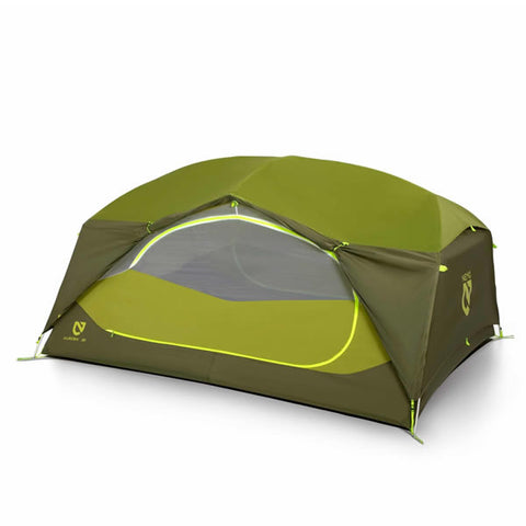 Nemo Aurora 3 Person Hiking Tent with Footprint Nova Green vestibule up