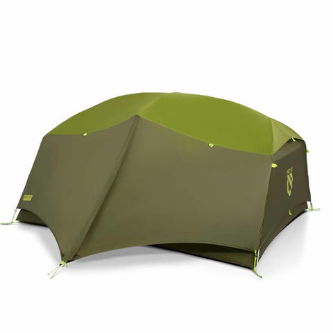 Nemo Aurora 3 Person Hiking Tent with Footprint Nova Green with fly and vestibule out