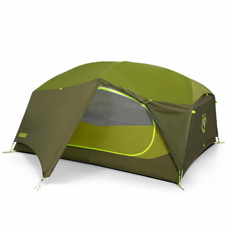 Nemo Aurora 3 Person Hiking Tent with Footprint Nova Green Vestibule shown