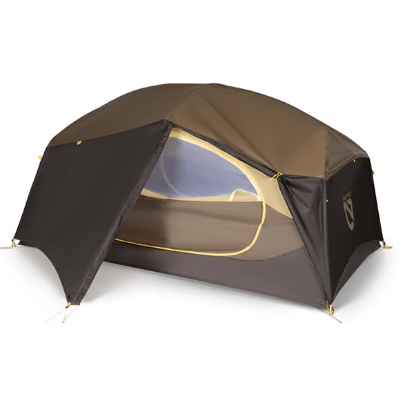 Nemo Aurora Storm 2 Person Hiking Tent Brown with fly on