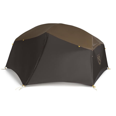 Nemo Aurora Storm 2 Person Hiking Tent Brown with vestibule zipped up