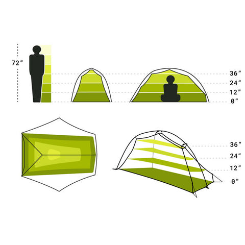 Nemo Hornet 2 Person Ultralight Hiking Tent space diagram