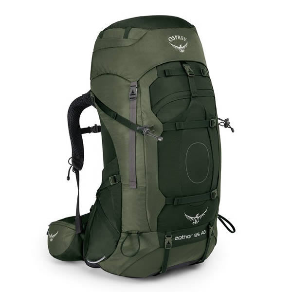 Osprey Aether AG Men's 85 Litre Hiking / Mountaineering Backpack with Raincover Adirondack green