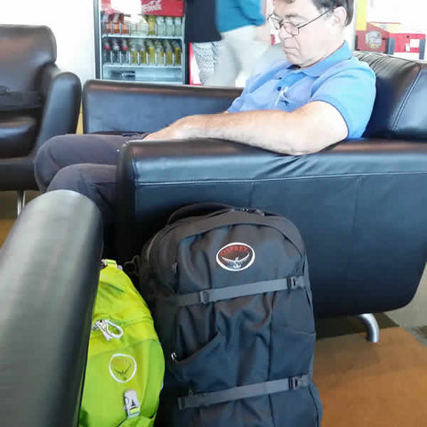 Osprey Farpoint 40 Litre Travel Pack at departure lounge at airport - Seven Horizons