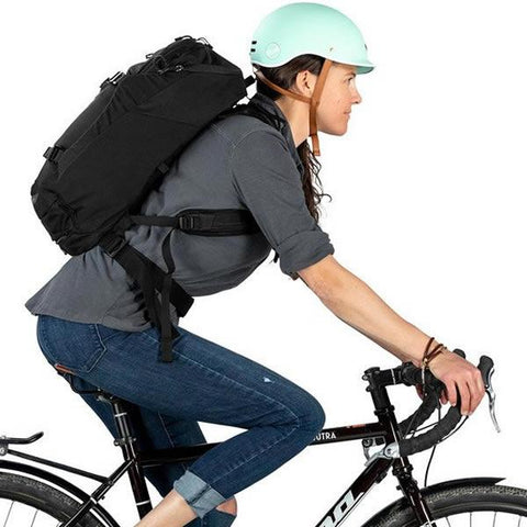 Osprey Metron 26 Litre Cycling Commute Daypack in use side view