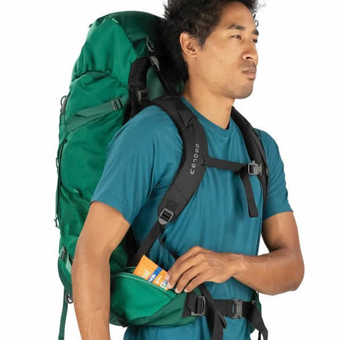 Osprey Rook 60 Litre Men's Hiking Backpack Mallard Green hipbelt pockets