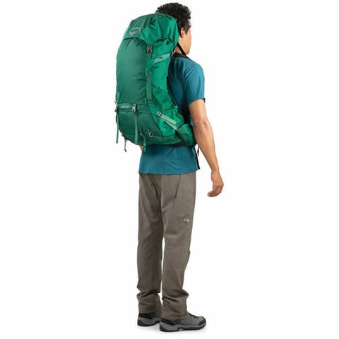 Osprey Rook 60 Litre Men's Hiking Backpack Mallard Green rear view in use