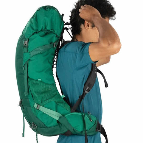 Osprey Rook 60 Litre Men's Hiking Backpack Mallard Green ventilation