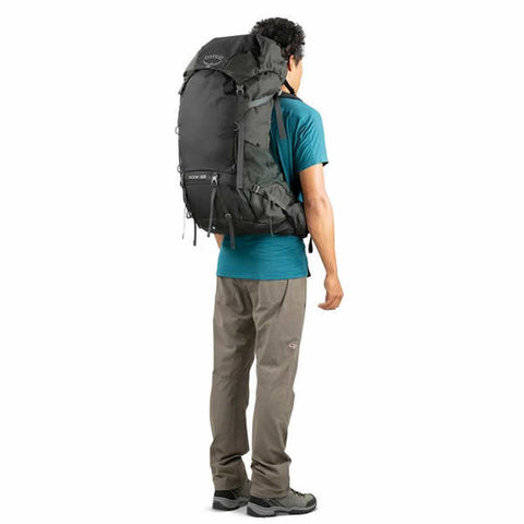 Osprey Rook 65 Litre Men's Hiking Backpack Black in use rear view