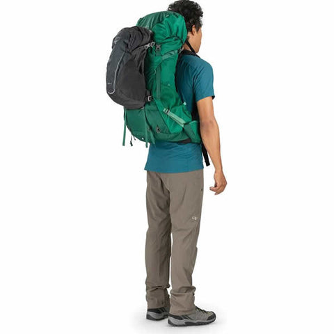 Osprey Rook 65 Litre Men's Hiking Backpack Mallard Green with daylite backpack attached