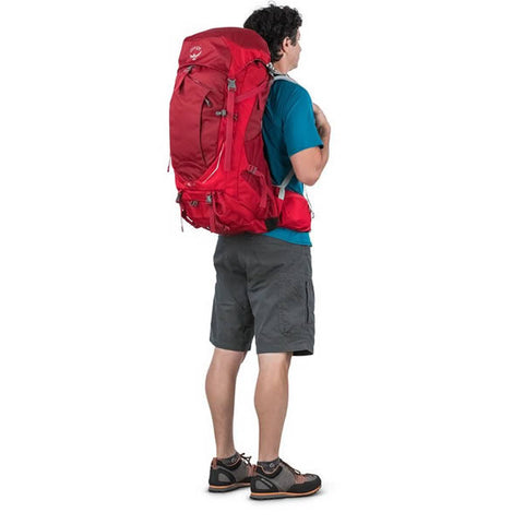 Osprey Stratos Men's Hiking Backpack Harness in use rear view