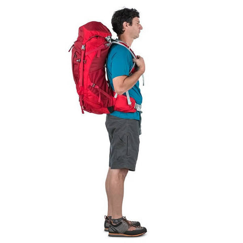 Osprey Stratos Men's Hiking Backpack Harness in use side view