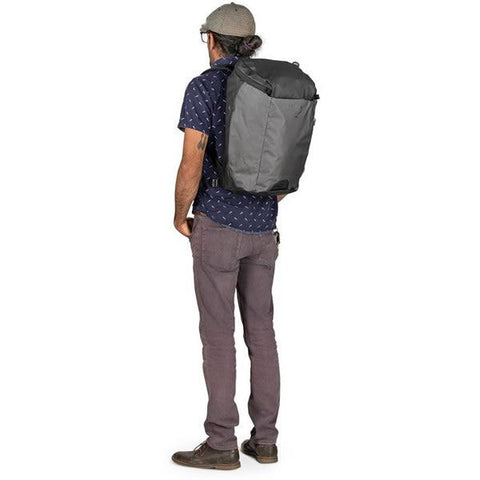 Osprey Transporter 30 Litre Zip Top Commute Daypack with Lap Top Sleeve in use on back
