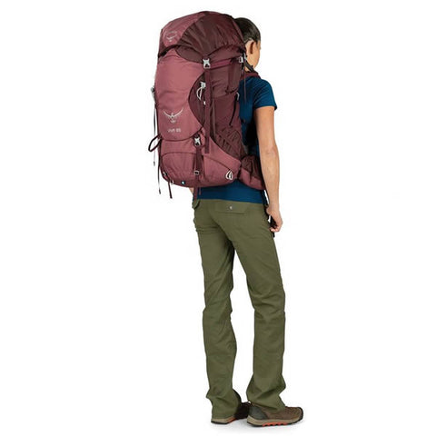 Osprey Viva 65 Litre women's hiking backpack in use rear view