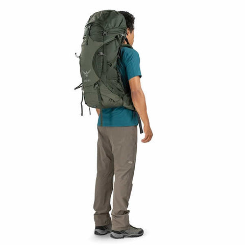 Osprey Volt 60 Litre Hiking Mountaineering Backpack Conifer Green in use on back