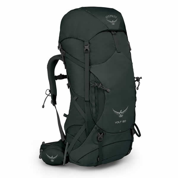Osprey Volt 60 Litre Hiking Mountaineering Backpack Conifer Green front view