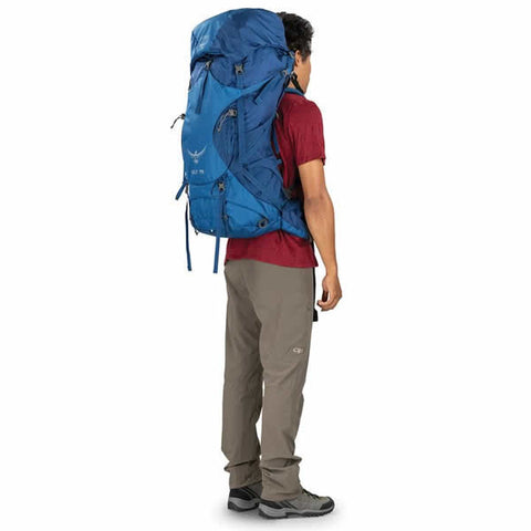 Osprey Volt 75 Litre Men's Hiking Mountaineering Backpack in use rear view