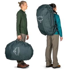 Osprey AirCover Backpack Cover and Raincover in use