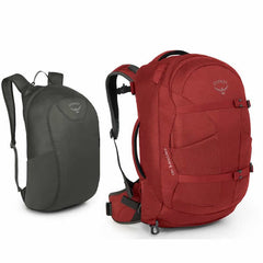 Osprey Farpoint 40 Litre Travel Backpack Jasper Red with Free Packable Daypack