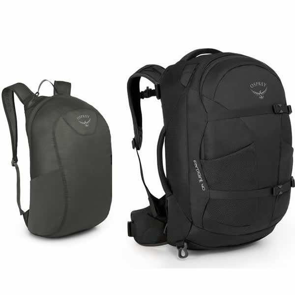 Osprey Farpoint 40 Litre Travel Backpack Volcanic Grey with Free Packable Daypack