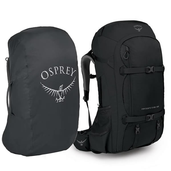 Osprey Farpoint Trek 55 Litre Trek and Travel Backpack Black with free aircover