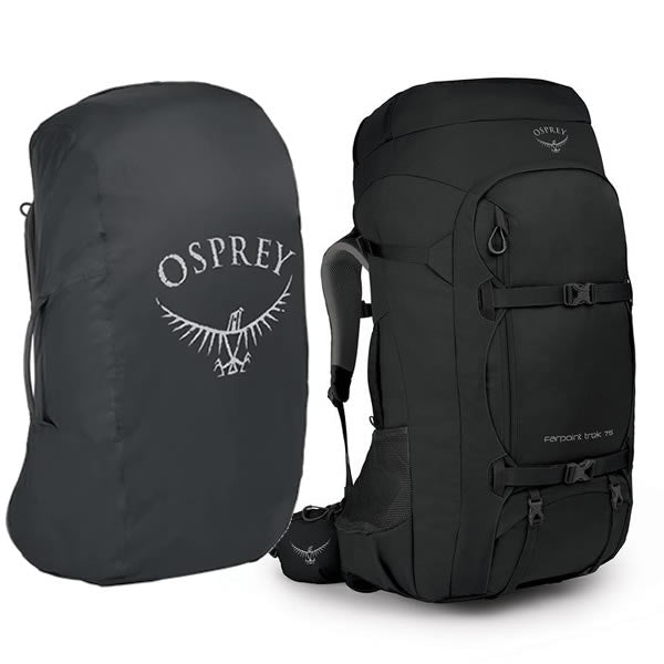 Osprey Farpoint Trek 75 Litre Hiking Travel Backpack with free Aircover Black