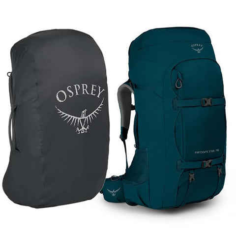 Osprey Farpoint Trek 75 Litre Hiking Travel Backpack with free Aircover Petrol Blue