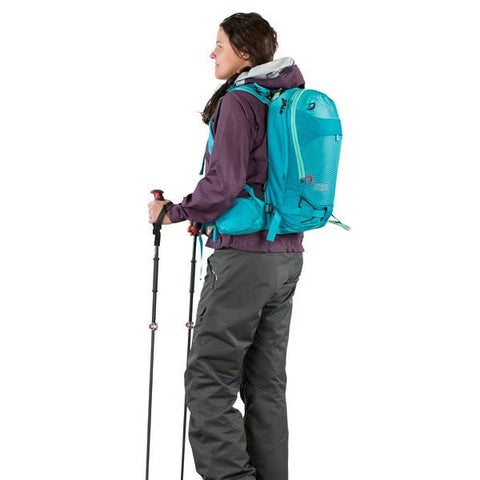 Osprey Kresta 20 Litre Womens backcountry riding back pack in use