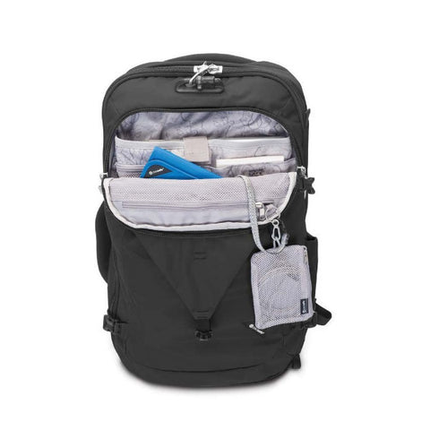 Pacsafe Venturesafe EXP45 Anti-theft Carry on 45 litre travel backpack two colours in use