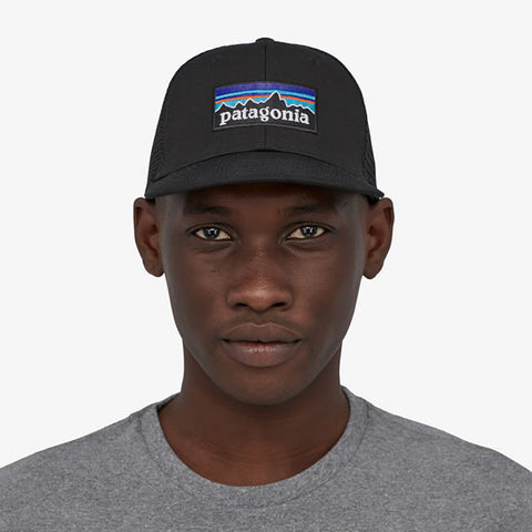 Patagonia P-6 Logo LoPro Trucker Hat Black in use front view