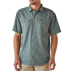 Patagonia Men's Short Sleeve Sol Patrol II Travel Shirt, 30 UPF front view in use