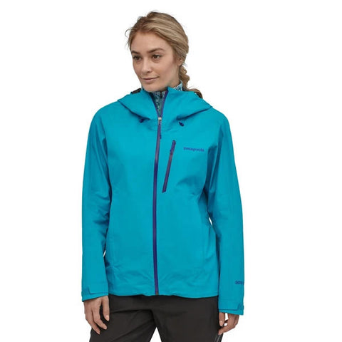 Patagonia Women's Calcite Jacket Gore-Tex Paclite Waterproof Breathable in use front view