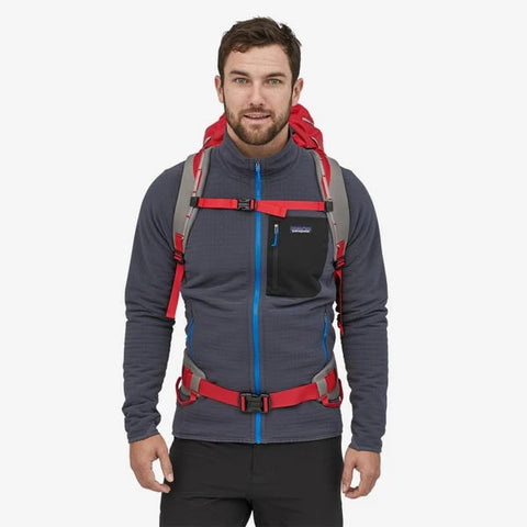 Patagonia Ascensionist climbing mountaineering daypack 35 litres in use harness view