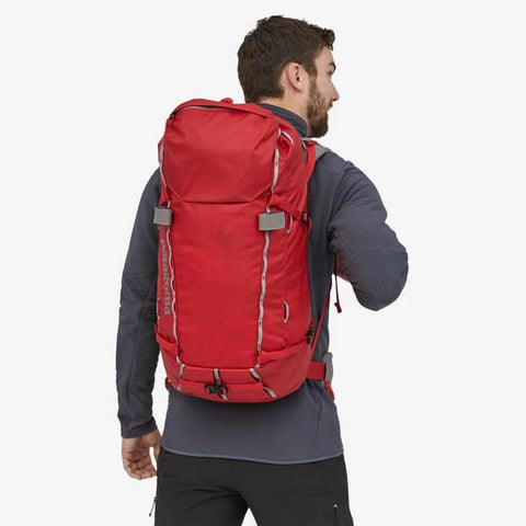 Patagonia Ascensionist climbing mountaineering daypack 35 litres in use rear view