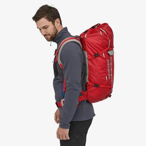 Patagonia Ascensionist climbing mountaineering daypack 35 litres in use side view