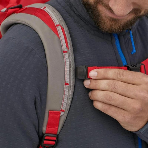 Patagonia Ascensionist climbing mountaineering daypack 35 litres in use buckles